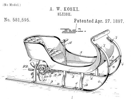 "Fig. 1 of U.S. Patent No. 581,595, simply titled ""Sleigh""."