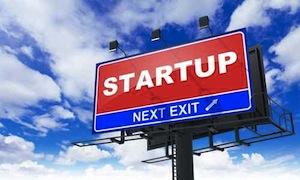 Startup Inscription on Red Billboard.