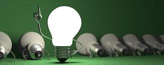 Light bulb character, aha moment  on green