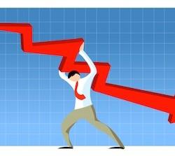 businessman holding regressive graph