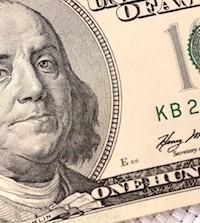 Dollars closeup. Benjamin Franklin portrait on one hundred dollar bill