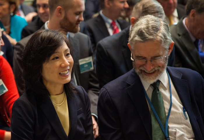 USPTO Directo Michelle Lee (right) with John Holdren, who is  senior advisor to President Barack Obama on science and technology issues.