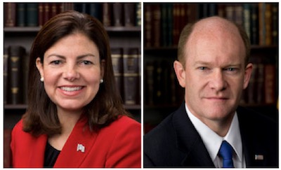 Senator Kelly Ayotte (left) and Senator Chris Coons (right)