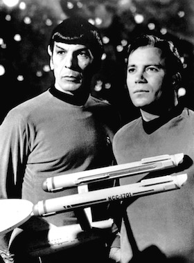 Leonard Nimoy and William Shatner as Mr. Spock and Captain Kirk