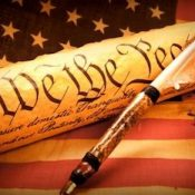 Constitution with American flag.
