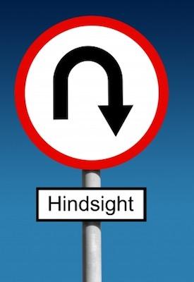 Hindsight road sign