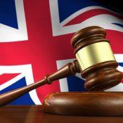 United Kingdom flag with gavel