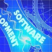 Software Development Concept. Blueprint Background with Gears. Industrial Design. 3d illustration, Lens Flare.
