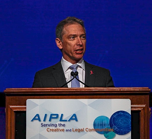 USPTO Director Andrei Iancu delivers the keynote speech at the AIPLA annual meeting on October 25, 2018.